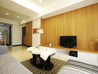 现代简约单身公寓客厅装修效果图