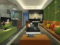 現代簡歐風格大居室裝修效果圖