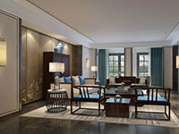 新古典中式風格大戶型別墅客廳裝修效果圖