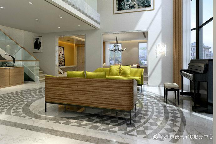 现代欧式风格别墅客厅装修效果图